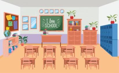 Free Vector Classroom school with chalkboard scene