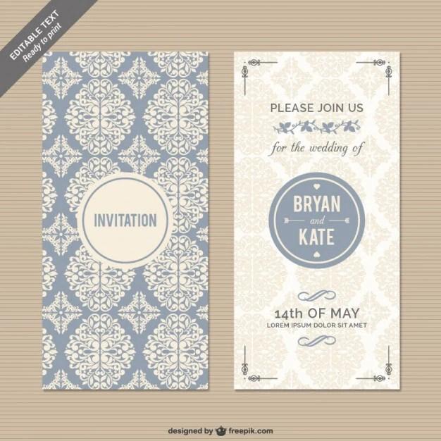 Wedding Free Invitation Swirls Heart Bird
