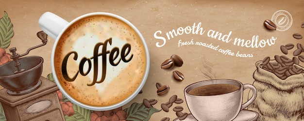Coffee banner ads with illustratin latte and woodcut style decorations on kraft paper background Premium Vector