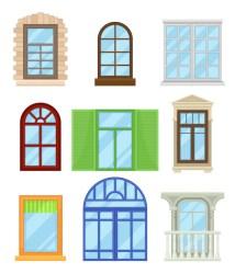 cartoon colored windows karikatur tecknade fenster window vector premium architecture illustrationer hus filmen vektorer faerbte sammlung weissem hintergrund bakgrund vit
