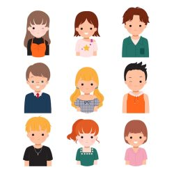 Premium Vector Collection of female and male avatar set teenager and college student profile in casual and trendy clothes man and woman hairstyle