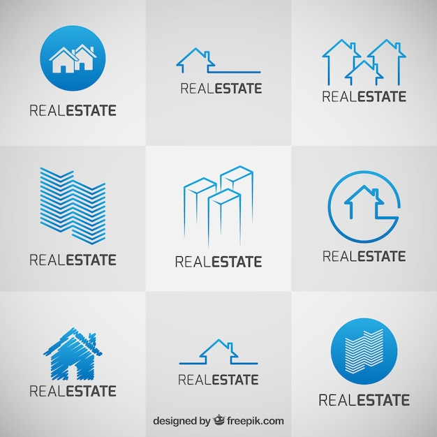 Collection Of Blue Real Estate Logos Vector  Premium Download