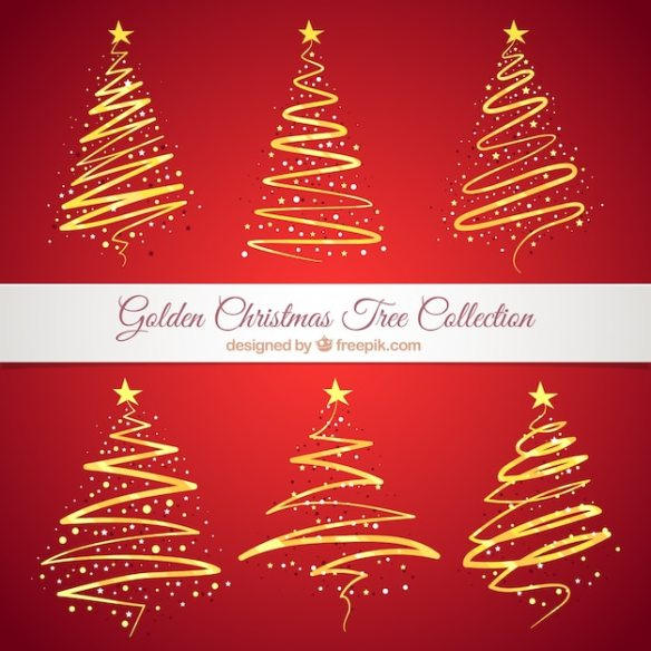 Collection of golden abstract christmas trees Free Vector
