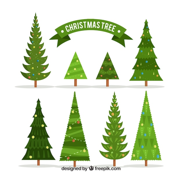 Free Vector Collection Of Various Types Of Christmas Trees