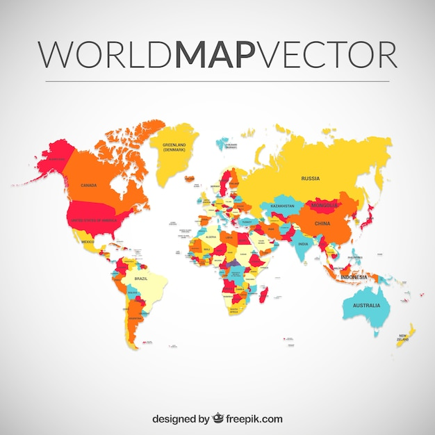 colored world map vector