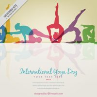 Colored yoga silhouettes background Vector | Free Download