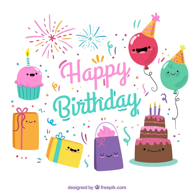 Colorful Background With Smiling Birthday Items Vector