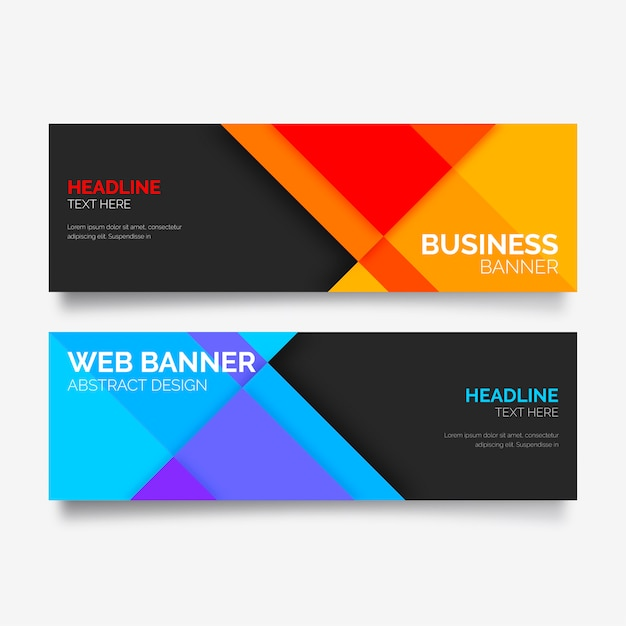 colorful banner collection with