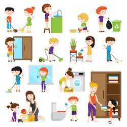 Free Vector Colorful cartoon set with kids cleaning rooms and helping their mums isolated on white background ve