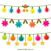 Colorful christmas string lights Vector | Free Download