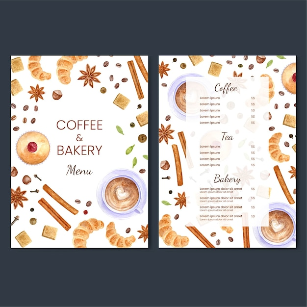 Colorful coffee and bakery menu design illustration Free Vector