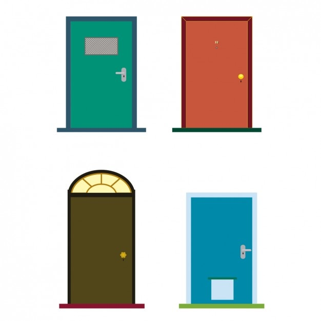 colorful doors vector free