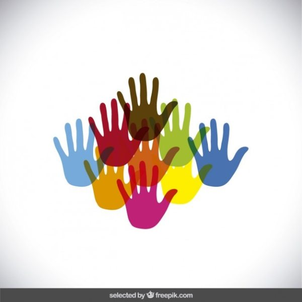 Colorful hands silhouettes Vector Free Download