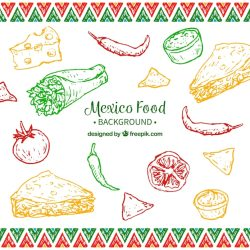 Premium Vector Colorful mexican food background
