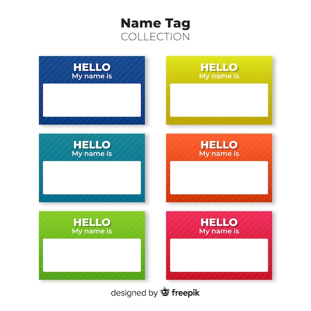 Colorful Name Tag Template Collection Vector Free Download