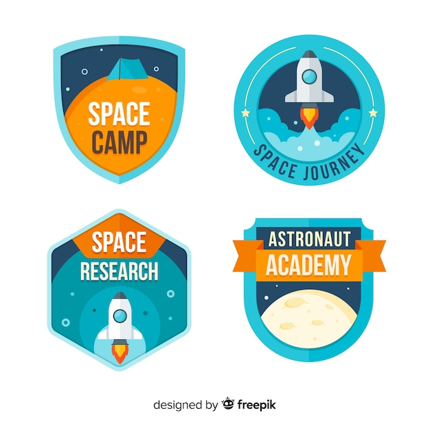 colorful space badge collection