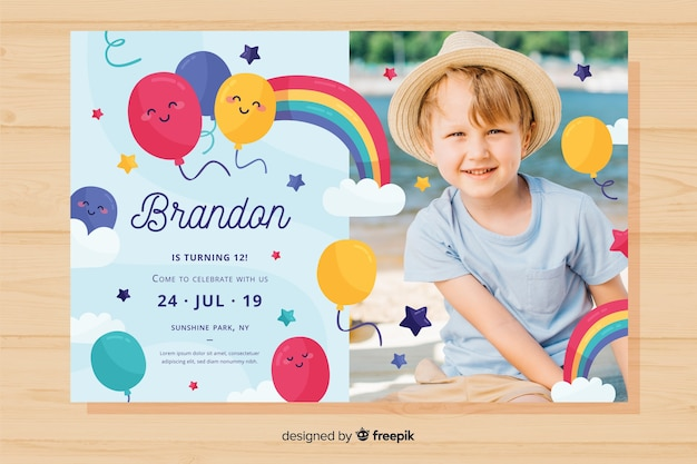 colourful birthday invitation template