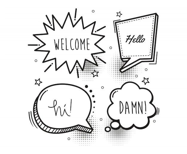 Comic book speech bubble cartoon word welcome, hello, hi
