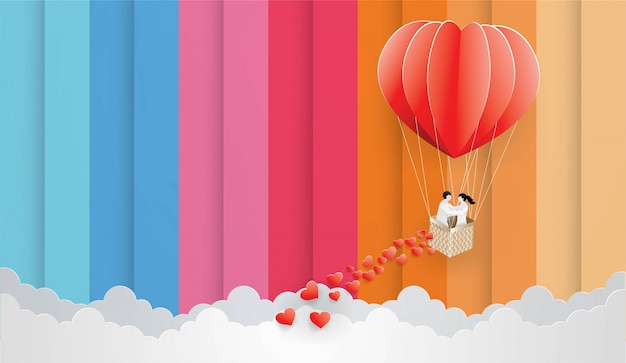 Download Couple in red balloon on the color sky background ...