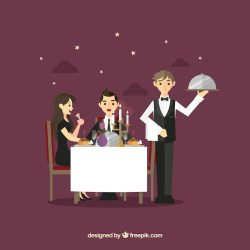 Couple Romantic Dinner Cartoon
