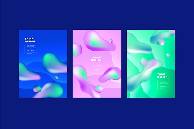 Covers set in liquid style Free Vector