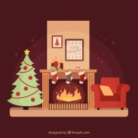 Cozy living room with a christmas tree and a fireplace ...