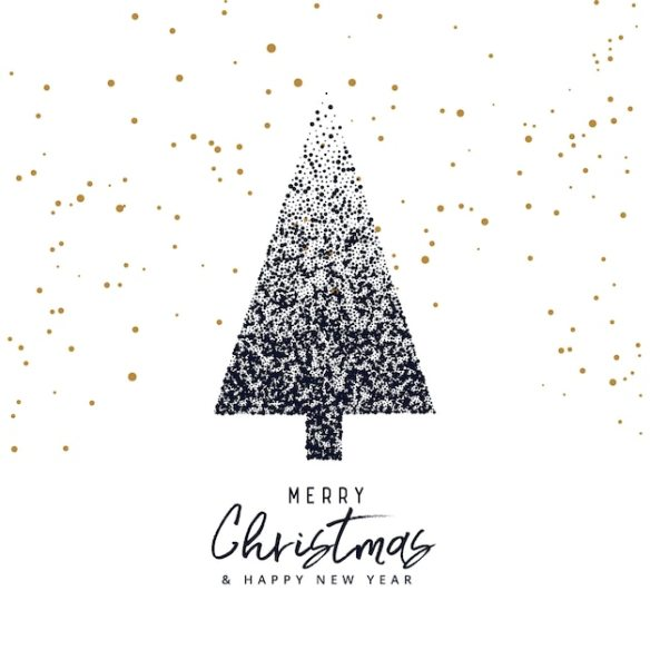 creative christmas tree design made with dots, xmas greeting Free Vector