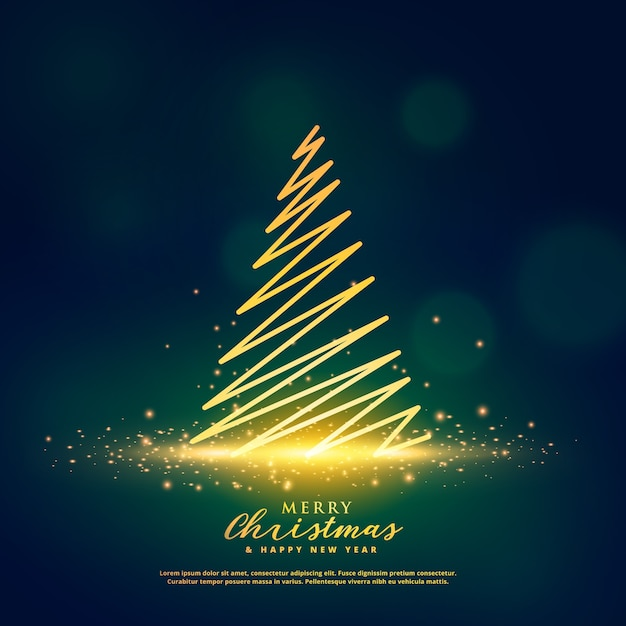 creative christmas tree design on glowing glitter sparkles Free Vector