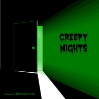 Creepy door with green light Vector