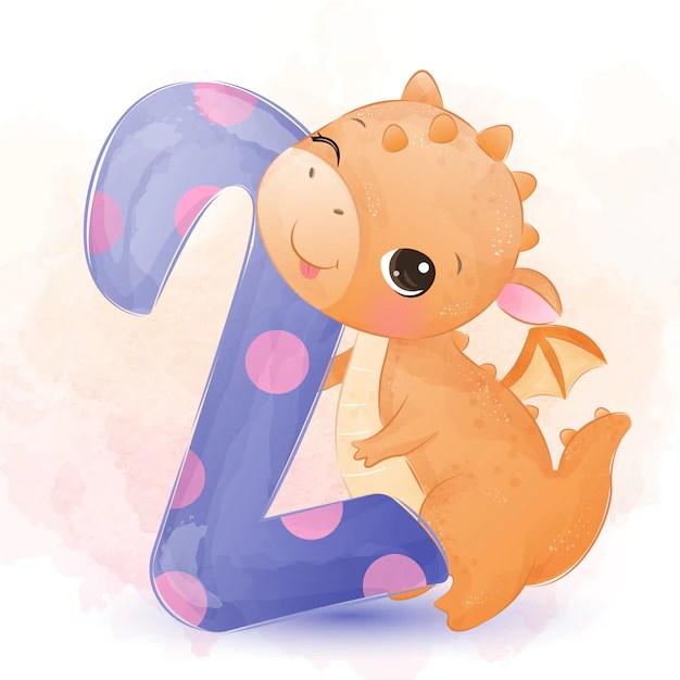 Premium Vector Cute Baby Dragon Watercolor