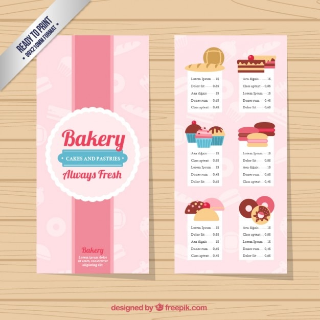 Free Bakery Menu Templates Download Ideal Vistalist Co