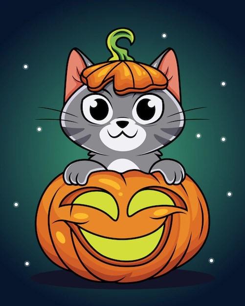 Cute Cartoon Halloween Pictures : cartoon, halloween, pictures, Premium, Vector, Cartoon, Pumpkin,, Halloween, Illustration.