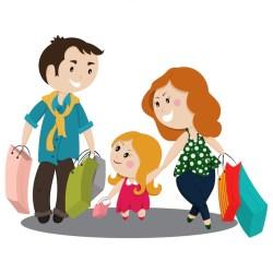 Premium Vector Cute cartoon family shopping with bags
