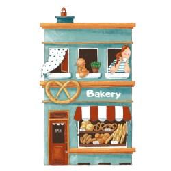 cartoon cute illustration bakery vector premium flat restaurant sweet