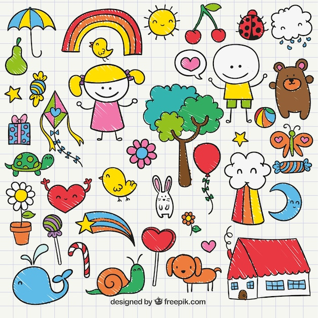 cute childrens drawing vector