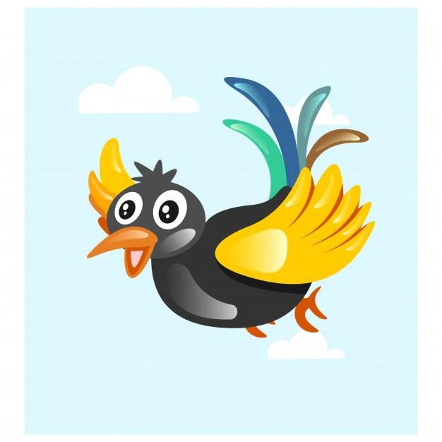 cute colorful bird flying