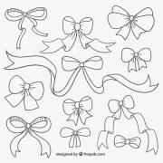 cute hand drawn ribbons vector
