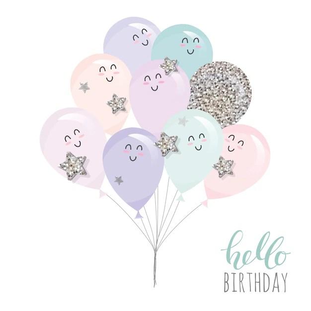 cute kawaii balloons vector