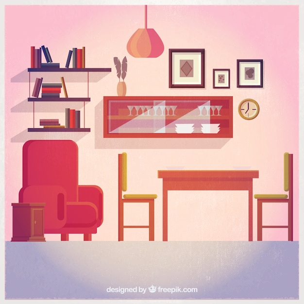 Cute living room decoration Vector  Premium Download