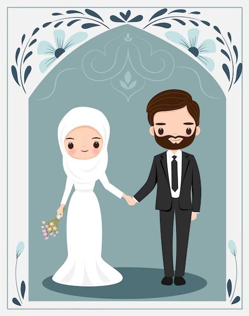 Kusus dewasa Kahwin Gambar Pengantin Kartun Muslimah