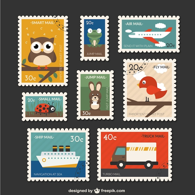 cute post stamps collection