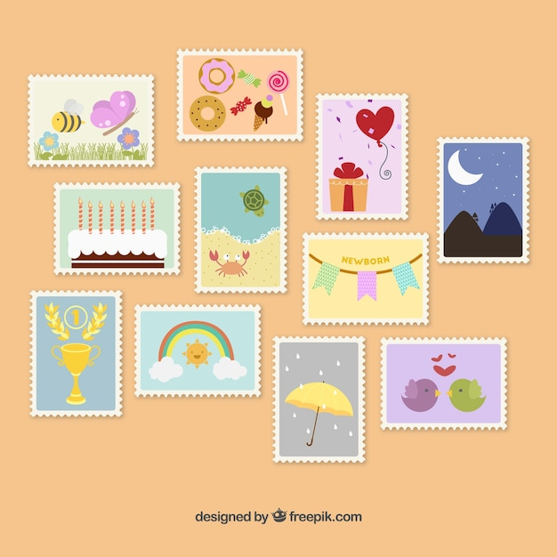 cute postage stamps vector