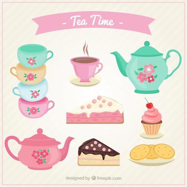 Cute tea cups set with cakes Vector
