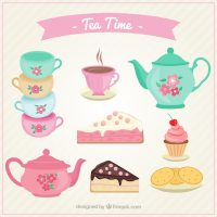 Cute tea cups set with cakes Vector
