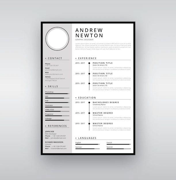 cv template flat design free