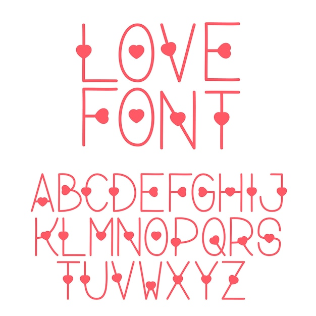 Download Decorative font love the alphabet with a heart letters ...