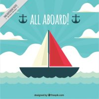 Decorative nautical background with ship in flat design ...