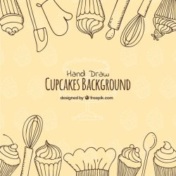 Free Vector Delicious food background with hand drawn style