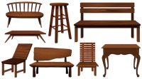 Different designs of chairs made of wood illustration ...