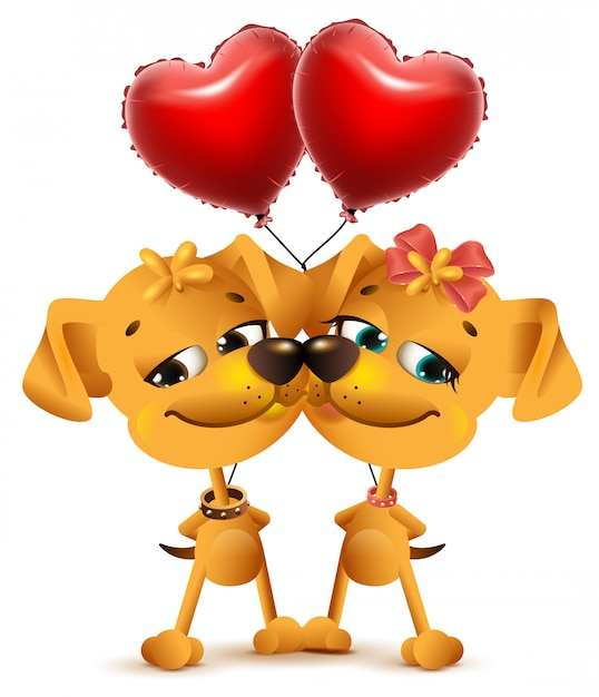 Download Dog couple love and red balloons of heart shape   Premium ...